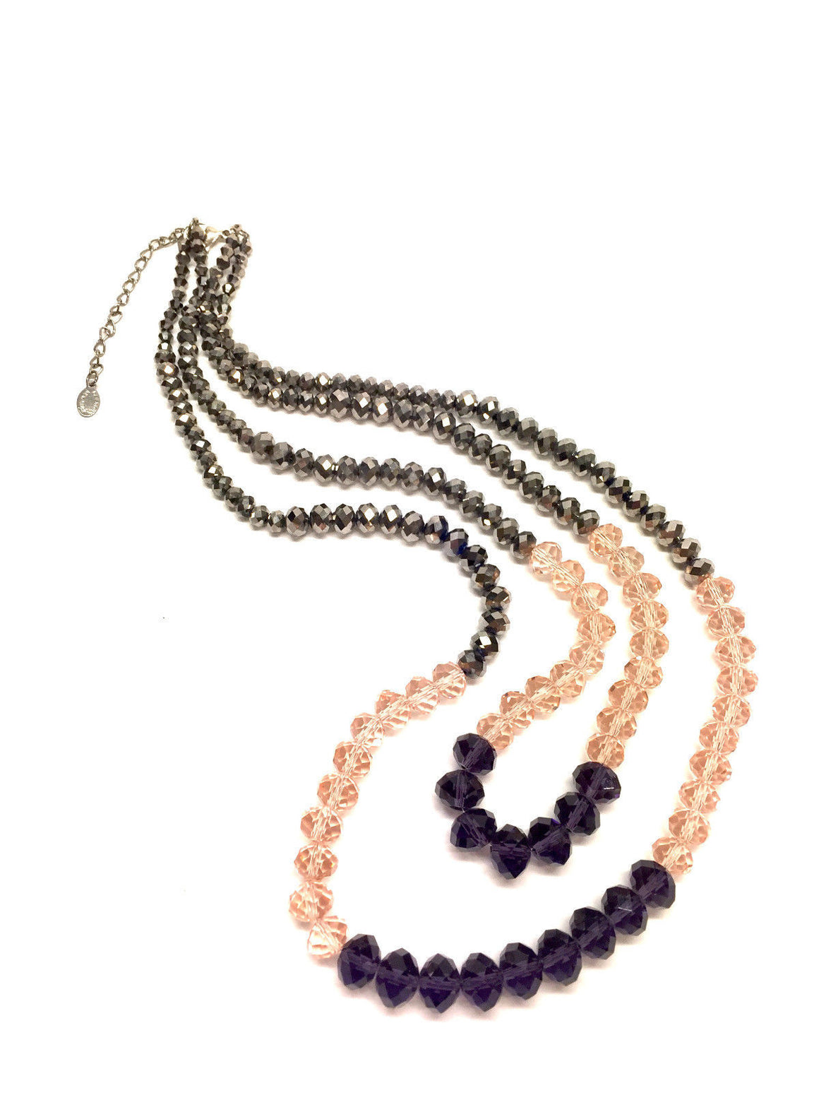 bisbiz.com ALI KHAN  New York   2-Strand Faceted Hematite Amethyst & Rose-Quartz Crystal Beads Necklace - Bis Luxury Resale