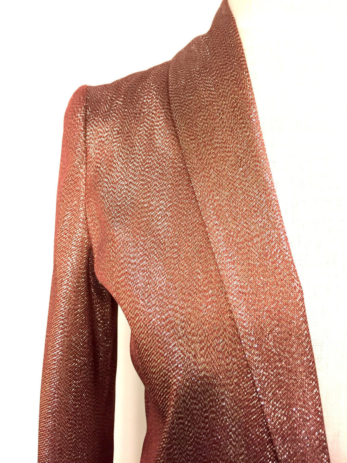 bisbiz.com GUCCI  Copper Silk-Blend Gold/Silver Metallic Shawl Collared Dress Jacket  Size: IT38 / US4 - Bis Luxury Resale
