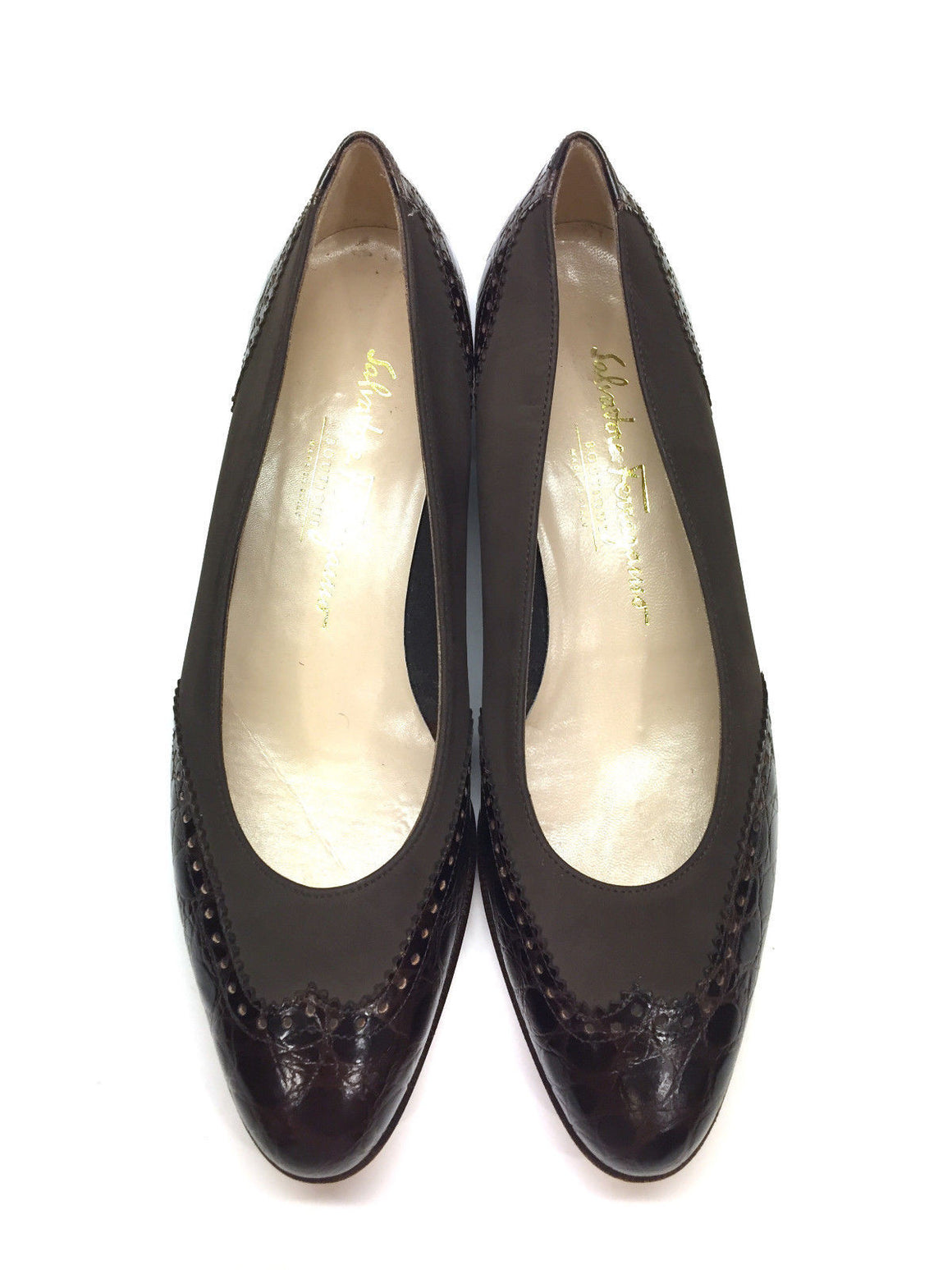 bisbiz.com FERRAGAMO Brown Suede Brown Croc Leather Angel Wing Flats Shoes Size: 38.5/8.5 - Bis Luxury Resale