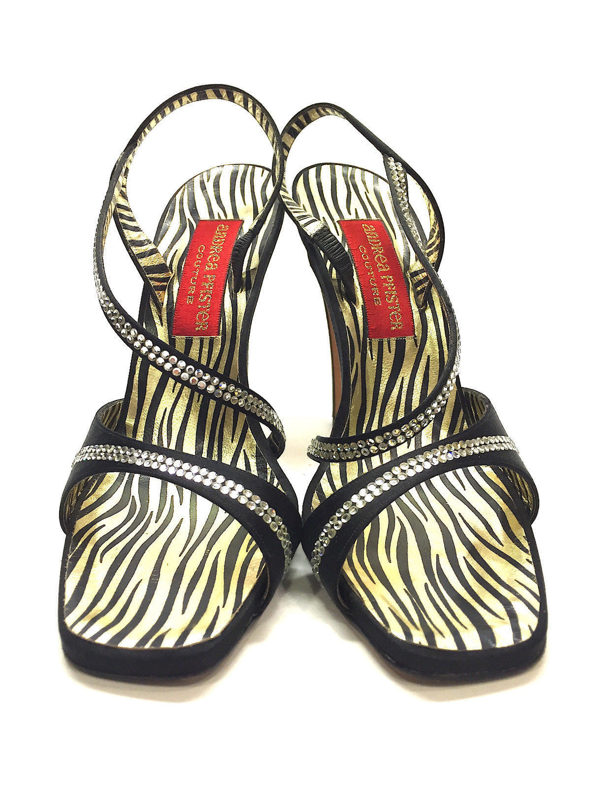 bisbiz.com ANDREA PFISTER COUTURE  Black Silk Crystal Trim Strappy Heel Slingback Sandals  Size: 9 - Bis Luxury Resale