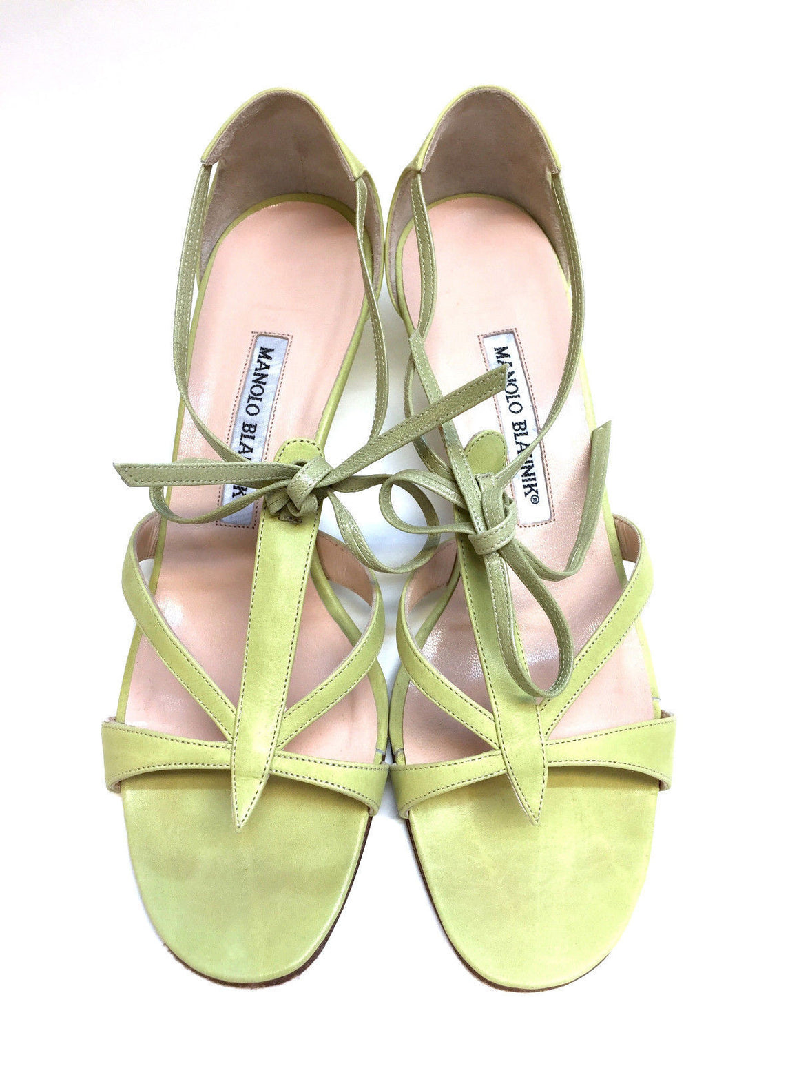 bisbiz.com MANOLO BLAHNIK  Lime-Green Leather Open-Toe T-Strap Kitten Heel Sandals  Size: 38.5 / 8.5 - Bis Luxury Resale