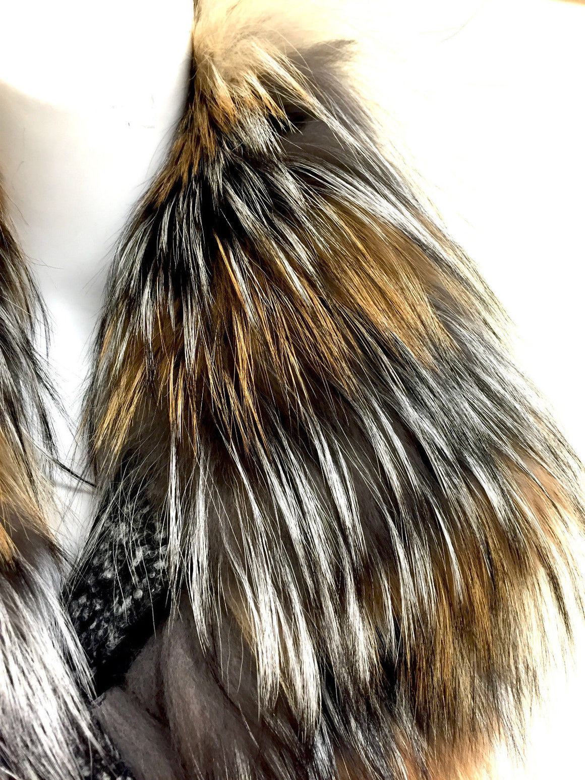 bisbiz.com ROBERTO CAVALLI New with Tags Silver & Arctic Fox Fur B&W Tweed Back Braided Leather Vest Size: IT40 / US4/6 - Bis Luxury Resale