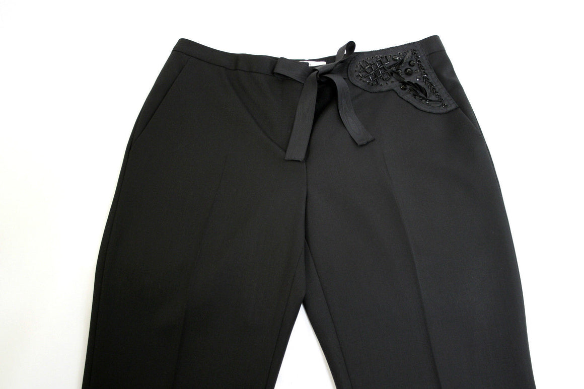 bisbiz.com PRADA  Black Wool Low-Rise Slim-Leg Pants with Pocket Embellishment Size: IT42 / US6 - Bis Luxury Resale