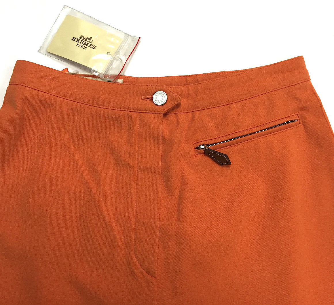 bisbiz.com HERMES   Vintage Hermes Orange Cotton-blend Riding Pants - Bis Luxury Resale