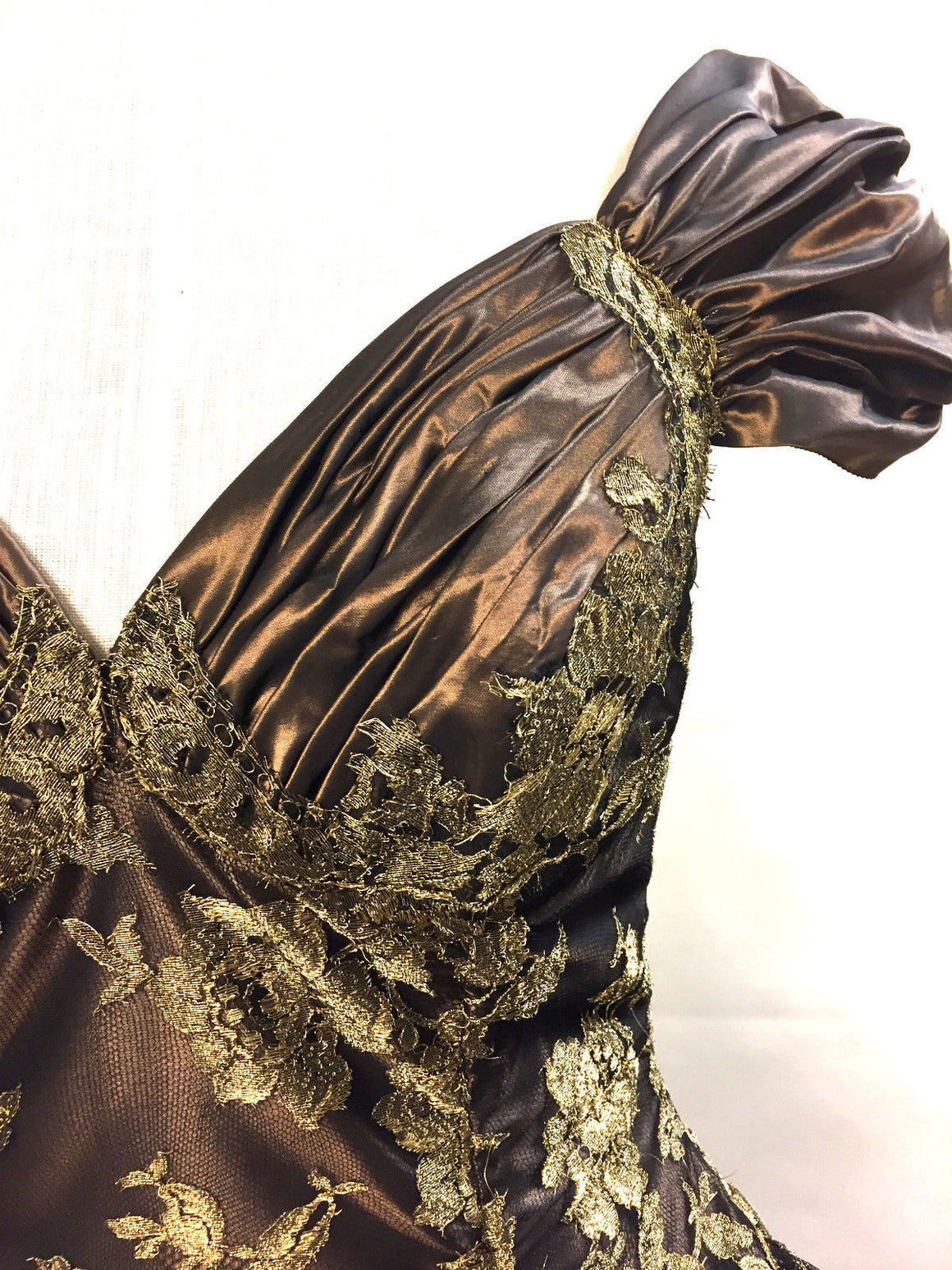 bisbiz.com VICKY TIEL   Vintage  Bronze Floral-Lace Corset Cocktail Evening Dress  Size: FR 38 / US 4 - Bis Luxury Resale