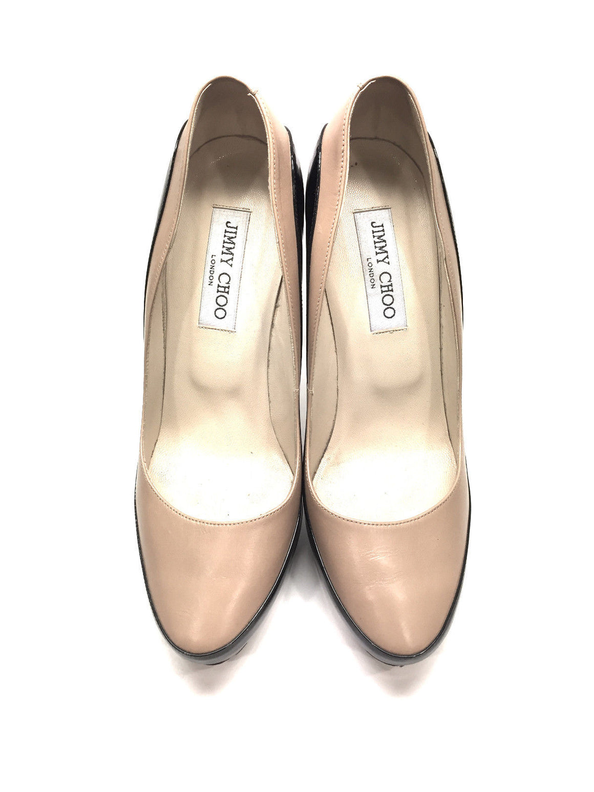 JIMMY CHOO  Beige Leather/Black Patent Stiletto Heel Platform Pumps  Size: IT 39 / US8.5
