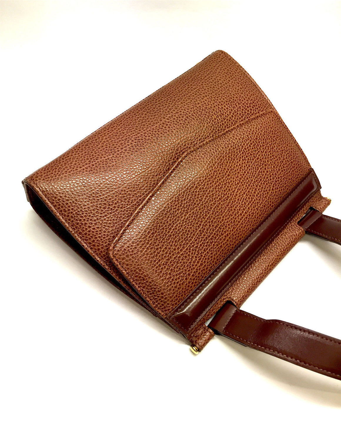 bisbiz.com REVILLON Vintage Rare Cognac-Brown Caviar Leather Cross Body Should Bag - Bis Luxury Resale