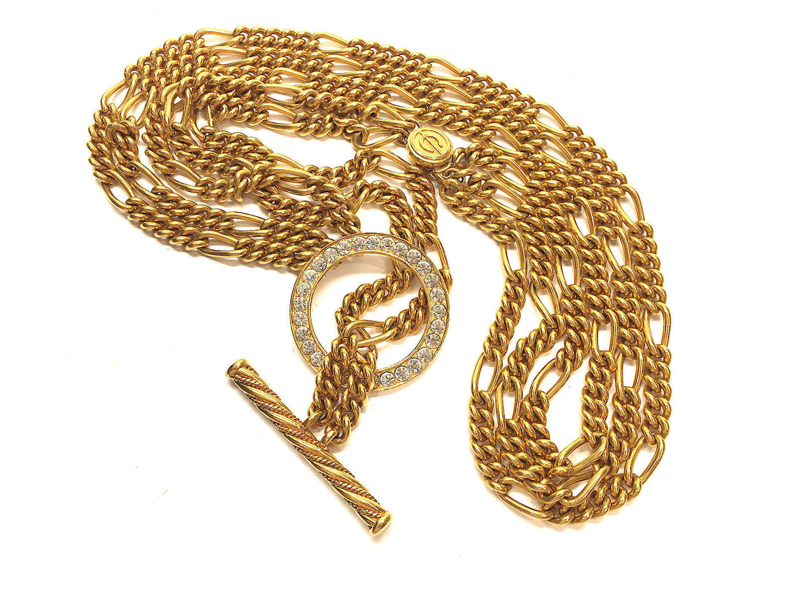 bisbiz.com CARITA Gilt Metal Triple Chain Link Toggle & Crystal-Pave Ring Necklace - Bis Luxury Resale