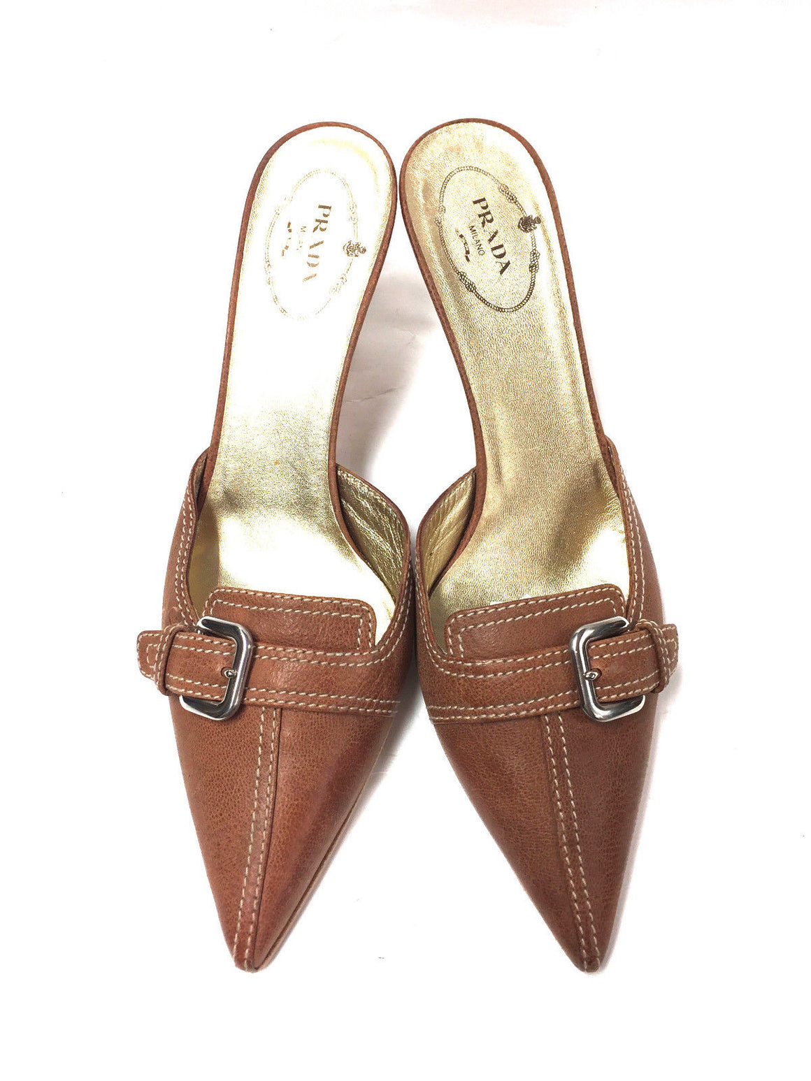 PRADA Tan Grained Leather Pointed-Toe Slip-On Heel Mules Size: 38.5 / 8.5