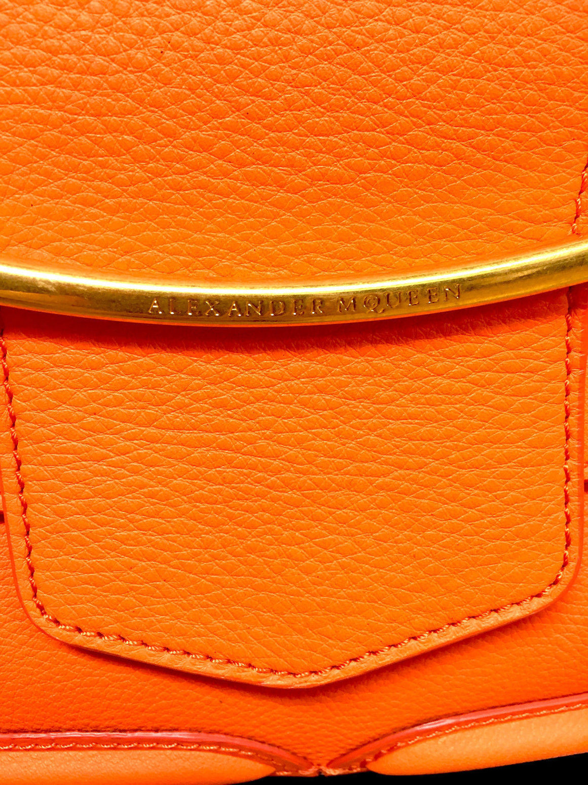 "bisbiz.com ALEXANDER McQUEEN Bright Orange Grained Leather ""Heroine"" Shoulder Bag - Bis Luxury Resale"