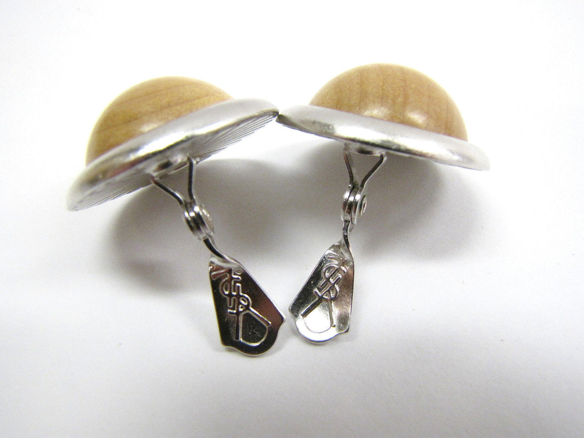 bisbiz.com YSL YVES ST. LAURENT Vintage Matte Silver-tone Bezel Blonde Wood Button Clip-On Earrings - Bis Luxury Resale