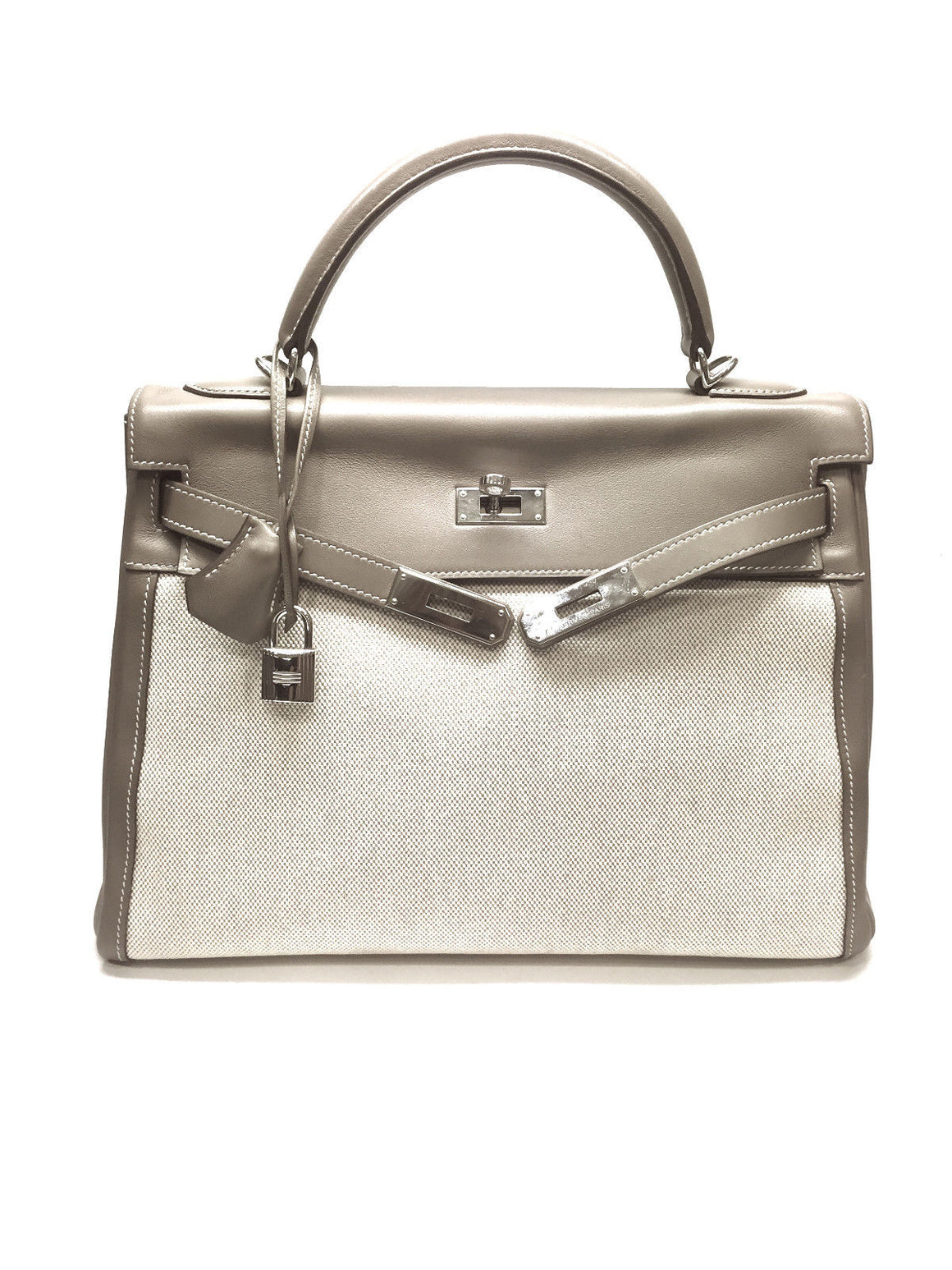HERMES Taupe Box Calf Leather & Canvas Silver-Tone H/W 32cm KELLY Bag