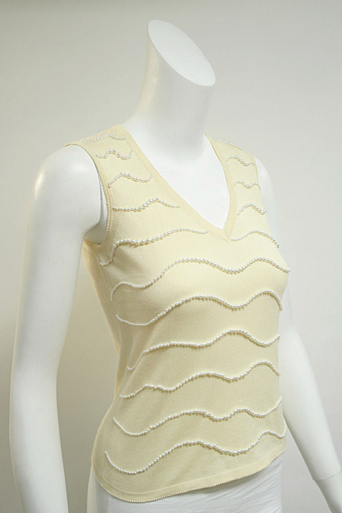bisbiz.com FERRAGAMO  Pale-Yellow Cotton Sleeveless Top Tank with Pearl Trim Size: Small - Bis Luxury Resale
