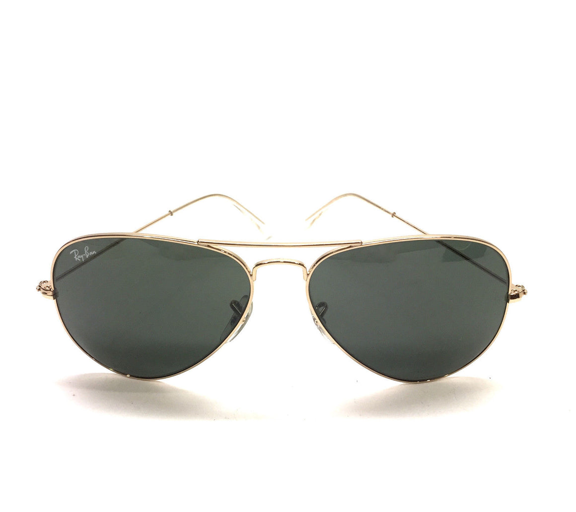 RAY-BAN  Gold-Tone Metal Frame Dark Green-Tinted Lenses Large Aviator Sunglasses Style #RB3025
