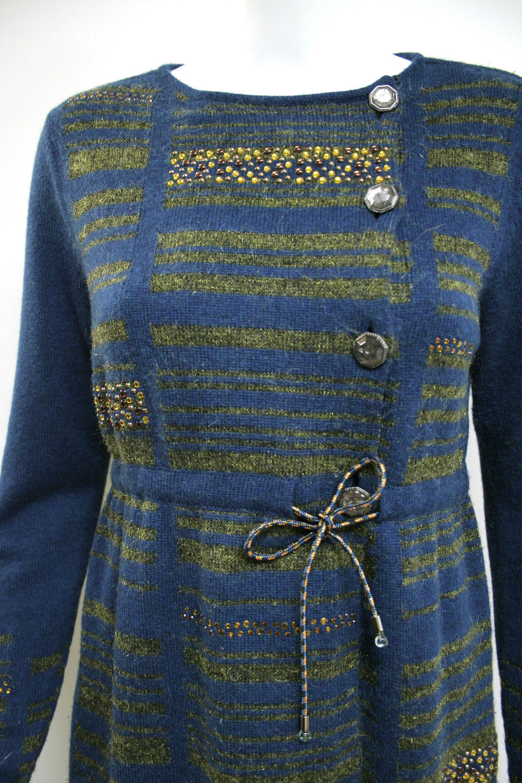 bisbiz.com CHANEL  Teal/Moss-Green Cashmere-Blend  Jeweled Sweater Coat  Size: FR 36 / US4-6 - Bis Luxury Resale