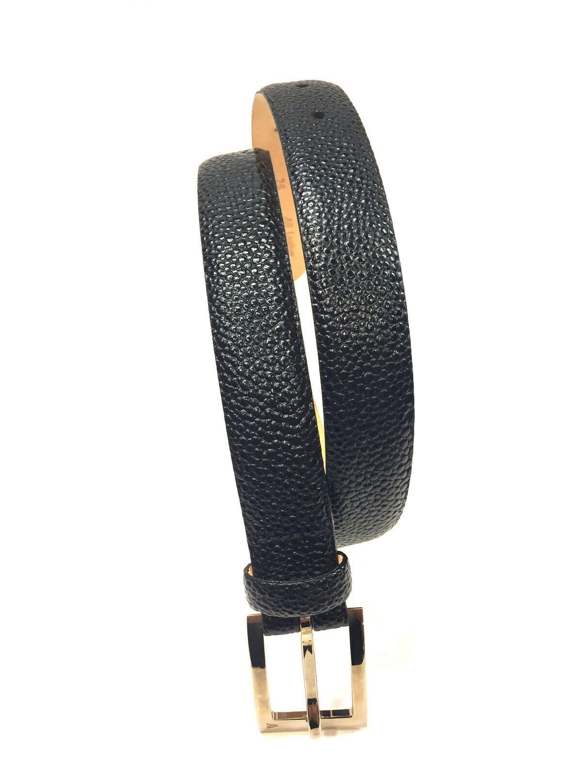 AQUASCUTUM Black Caviar Leather Gold Buckle Waist Belt Size: 26 / Small