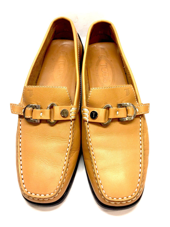 3bd62dc6aca623 TOD S Golden Tan Leather Gommino Driving Loafers Moccasins Shoes Size  ...
