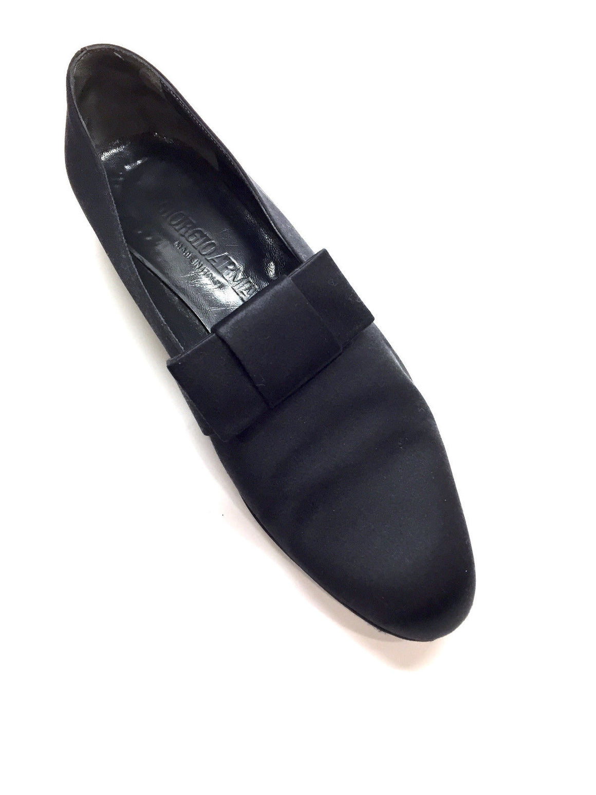 bisbiz.com GIORGIO ARMANI Black Silk Flat-Bow Slip-On Tuxedo Flats Shoes  Size: 37.5 / US 7.5 - Bis Luxury Resale