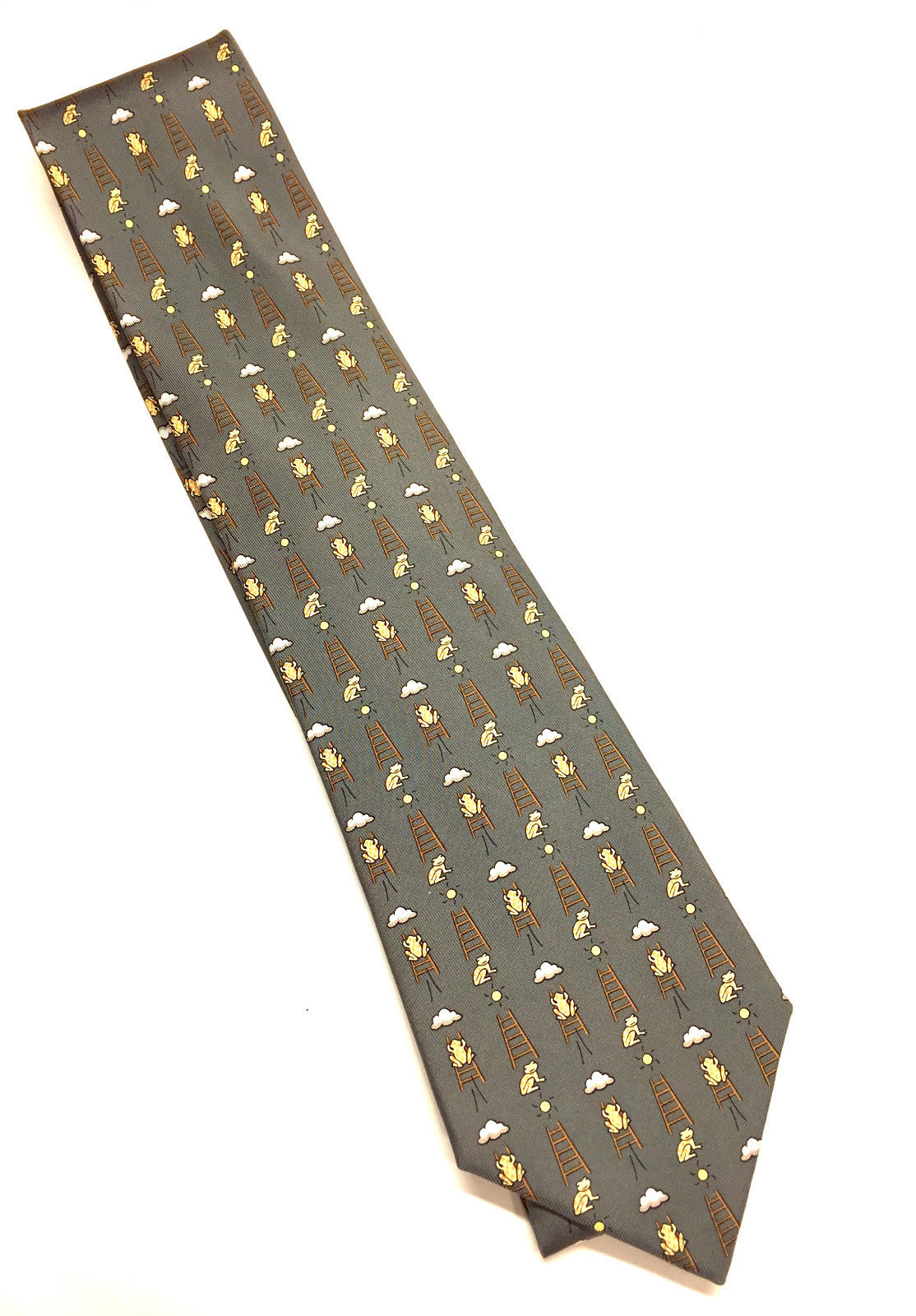 bisbiz.com HERMES  Green/Yellow Frog-on-a-Ladder Print Silk Twill Tie Style #7860UA - Bis Luxury Resale