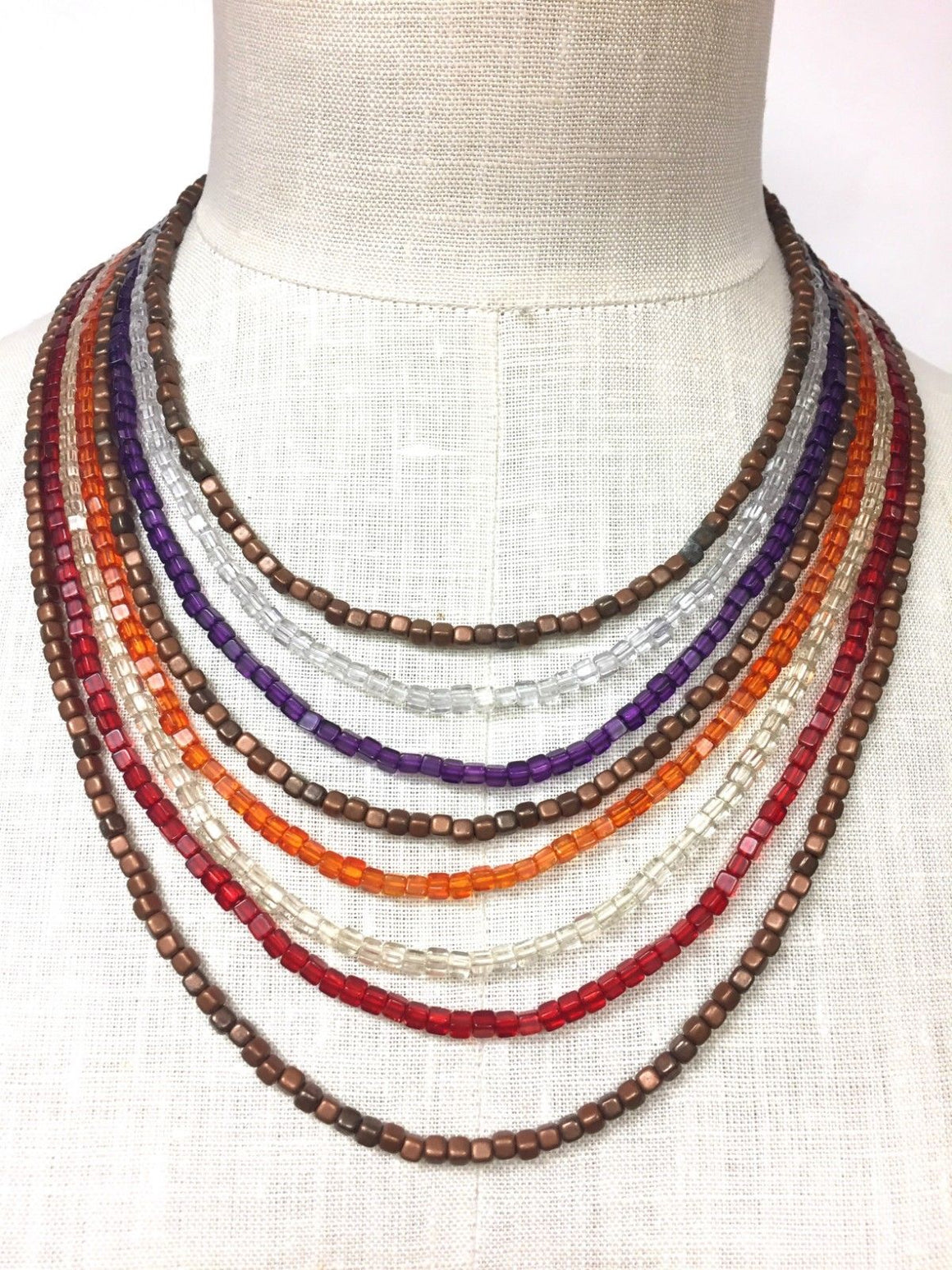 LAILA ROWE Multi-Color Cubic Glass Beads Copper-Tone Clasp Eight-Strand Necklace