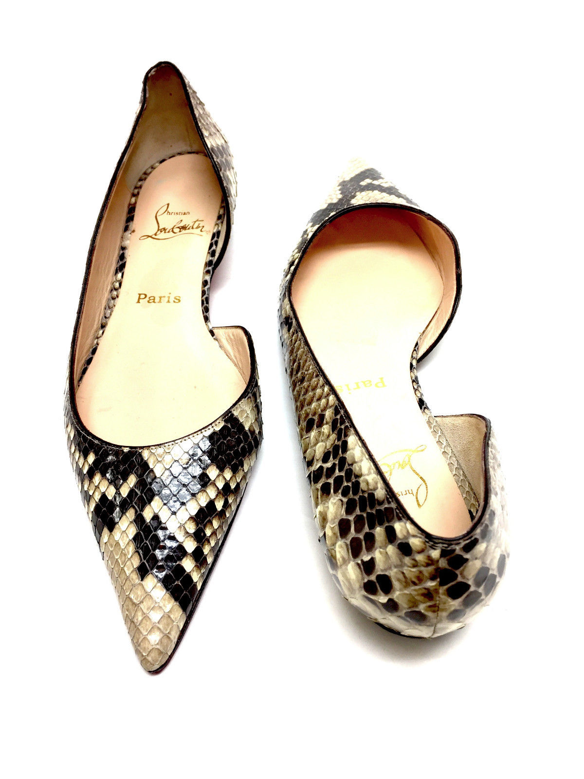 on sale 29a7a 992b8 CHRISTIAN LOUBOUTIN Brown/Beige Python Skin Flats Shoes Size: 40 /10