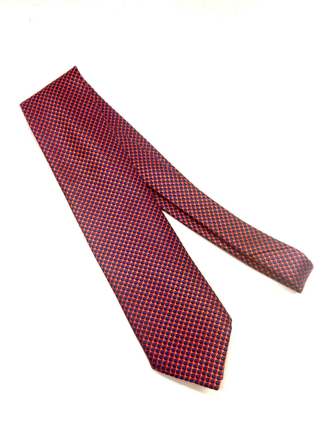 ERMENEGILDO ZEGNA Navy/Red Checkerboard-Patterned Textured Silk Men's Neck Tie
