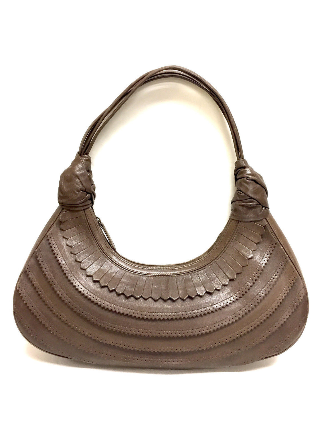 bisbiz.com CHRISTIAN LOUBOUTIN Brown Leather Tiered Hobo Shoulder Bag - Bis Luxury Resale