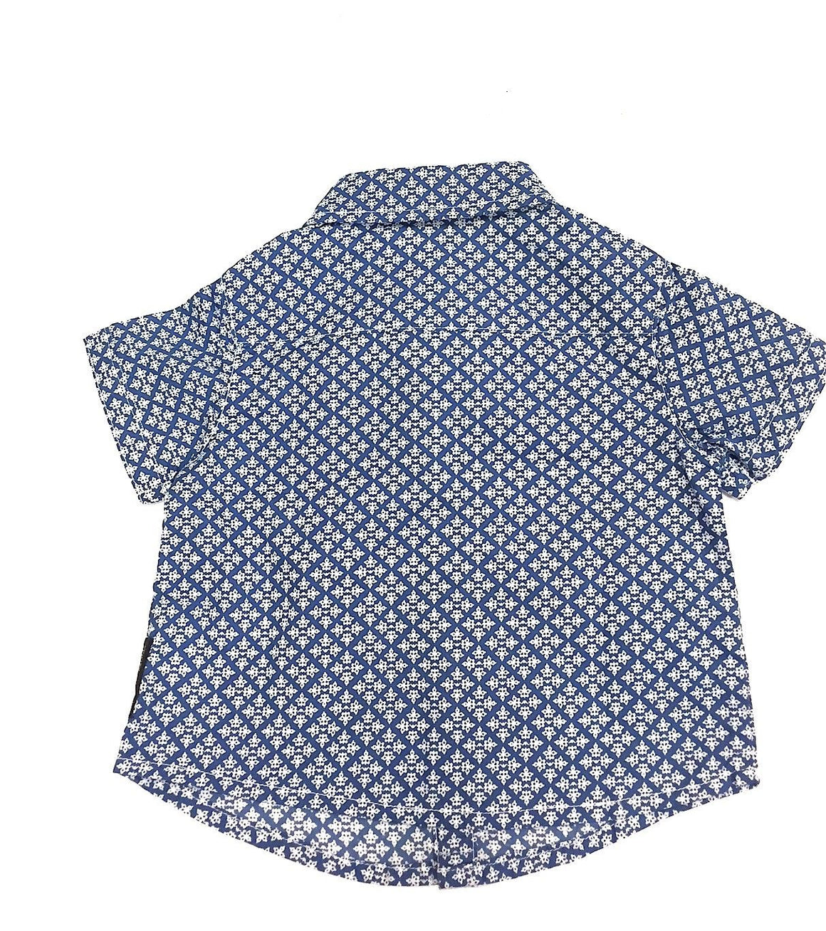 bisbiz.com ARMANI Baby Blue & White Snowflake-Print Cotton Buttoned-Down Short Sleeve Baby Shirt Size: 3 Months - Bis Luxury Resale