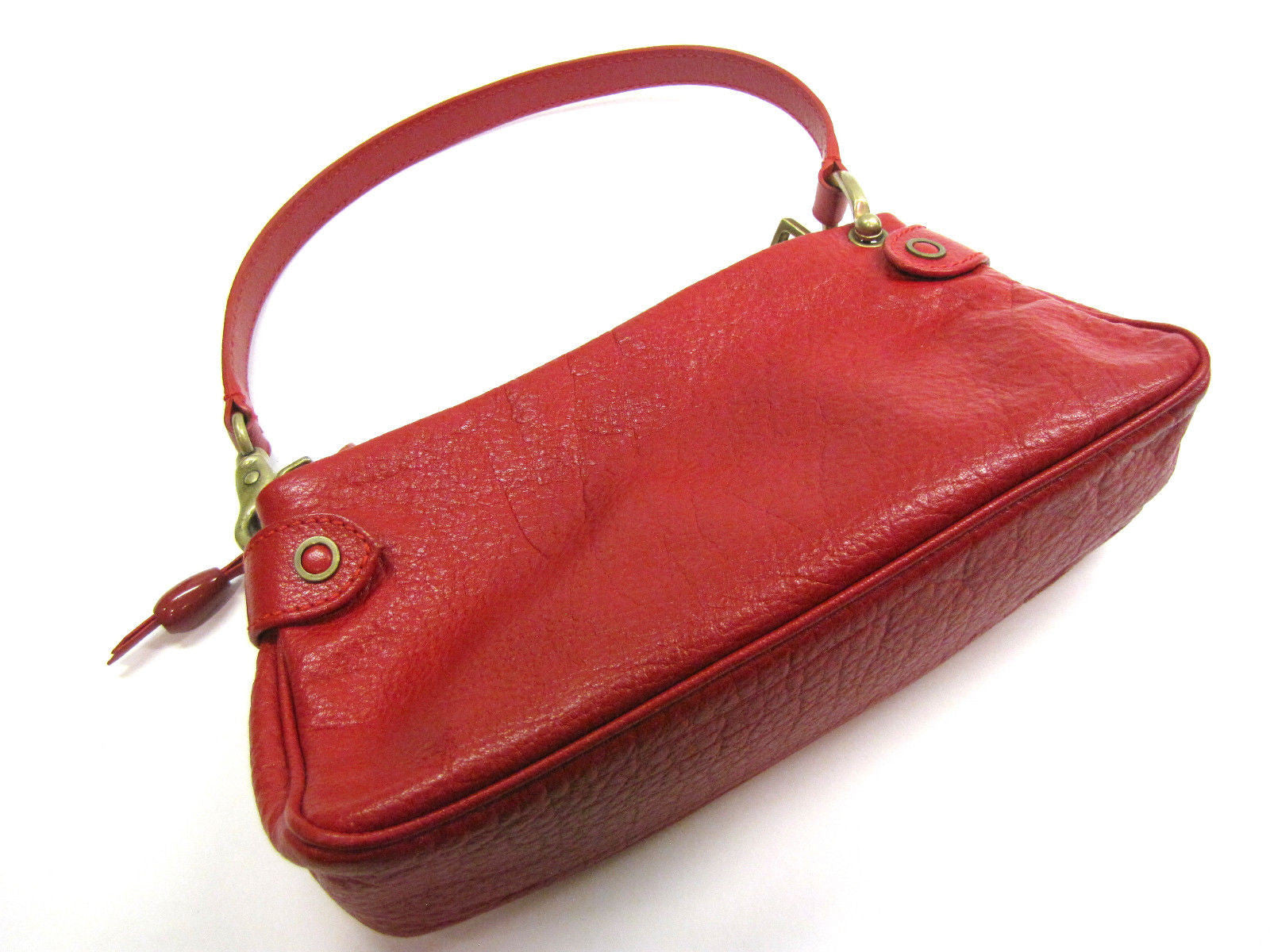 MARC JACOBS Red Grained Leather Zip-Top Shoulder Pochette Hand Bag