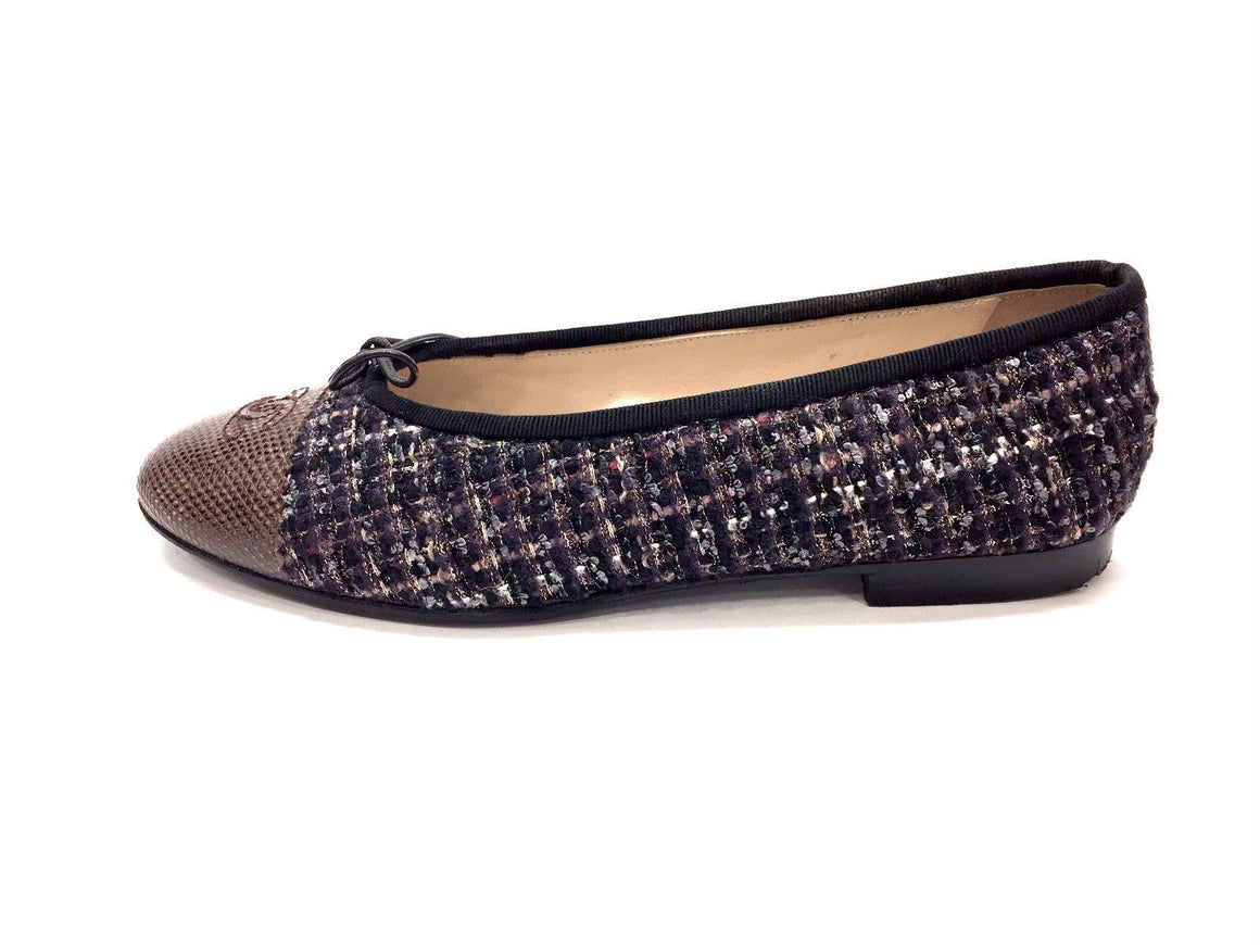 bisbiz.com CHANEL Black Purple Multi-color Tweed Brown Lizard Cap Toe Leather Ballet Flats Size: 39.5 - Bis Luxury Resale