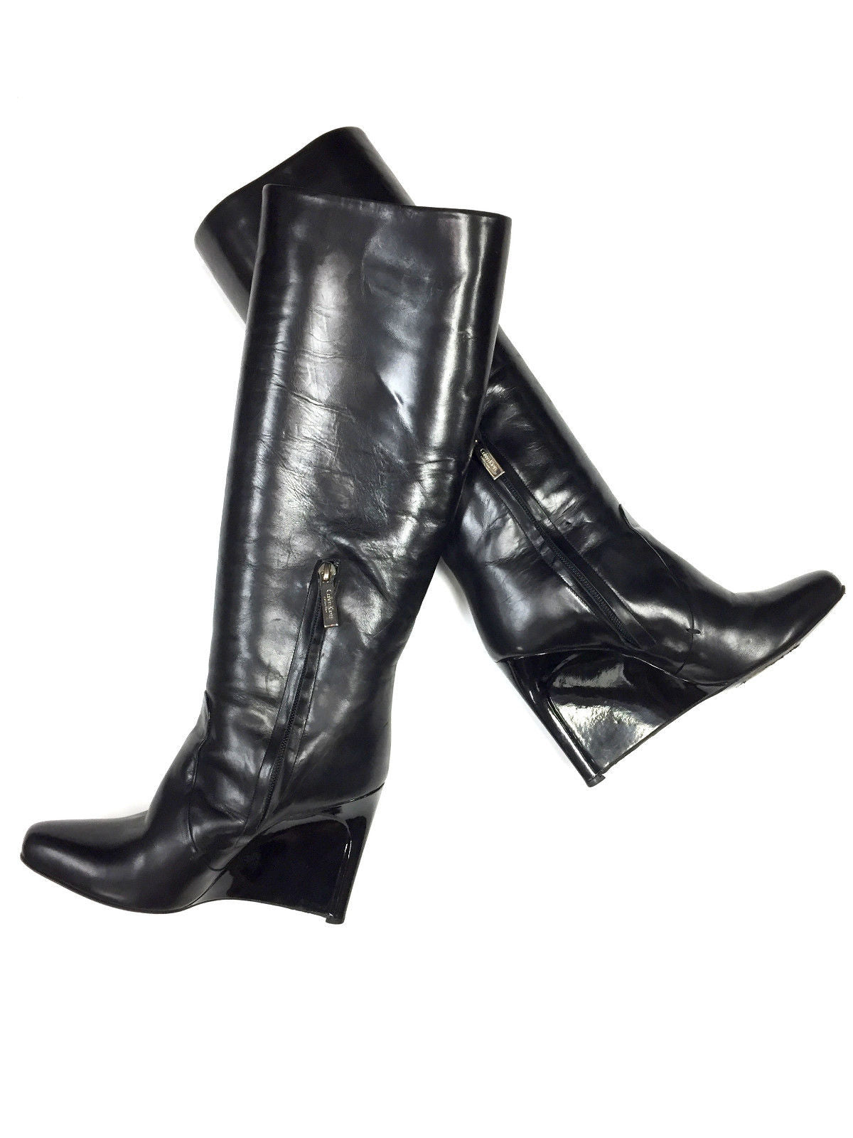 dffb70bf222 ... bisbiz.com CALVIN KLEIN COLLECTION Black Leather Patent Leather Wedge  Heels Tall Boots Size  ...
