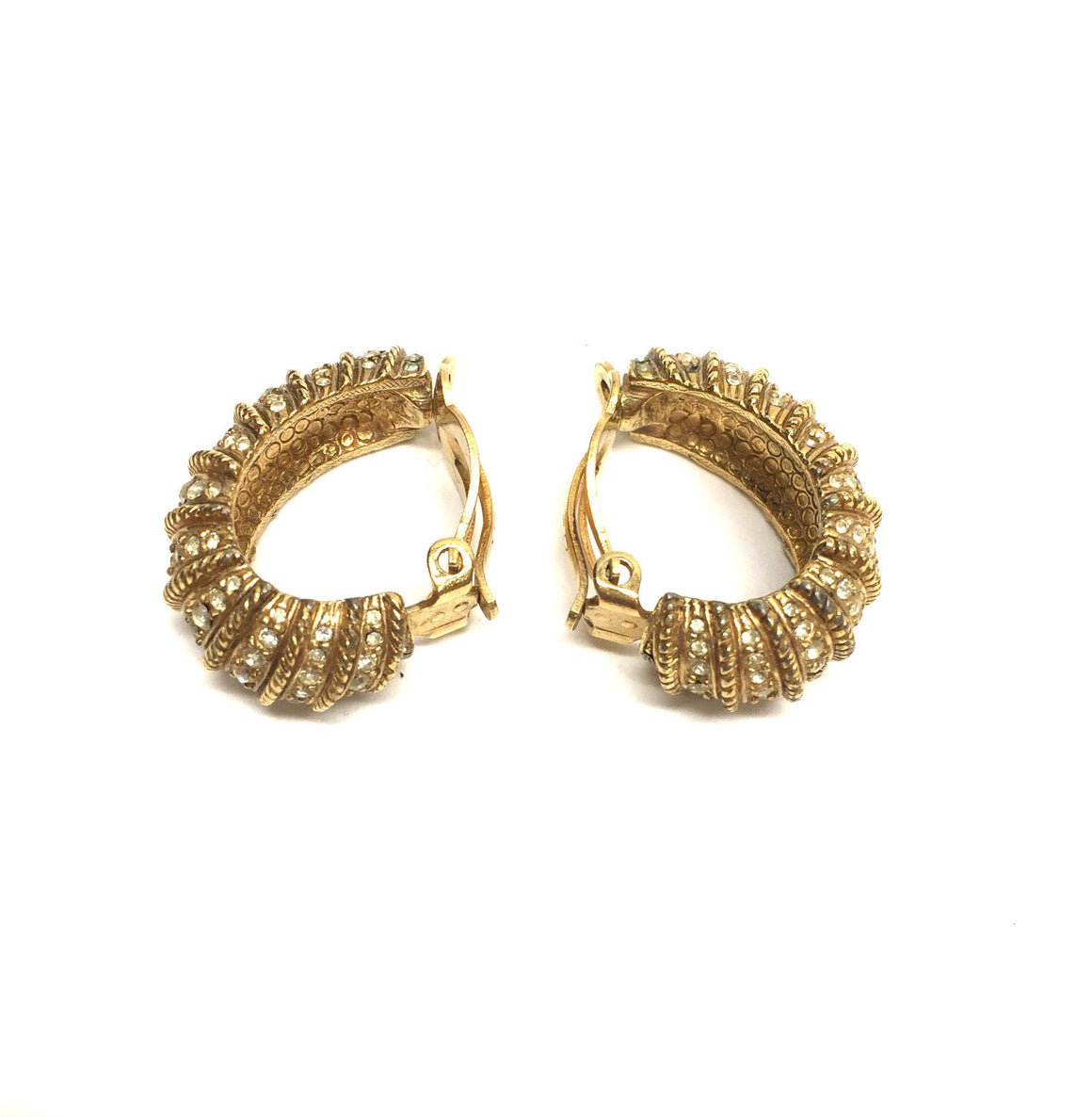 bisbiz.com CINER  Vintage  Gilt Metal Crystal-Pave Rows Clip-on Earrings - Bis Luxury Resale