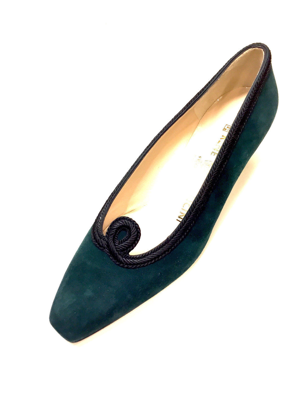 RENE MANCINI Forest-Green Suede Black Passementerie Trim Low-Heel Pumps Size: 37/7