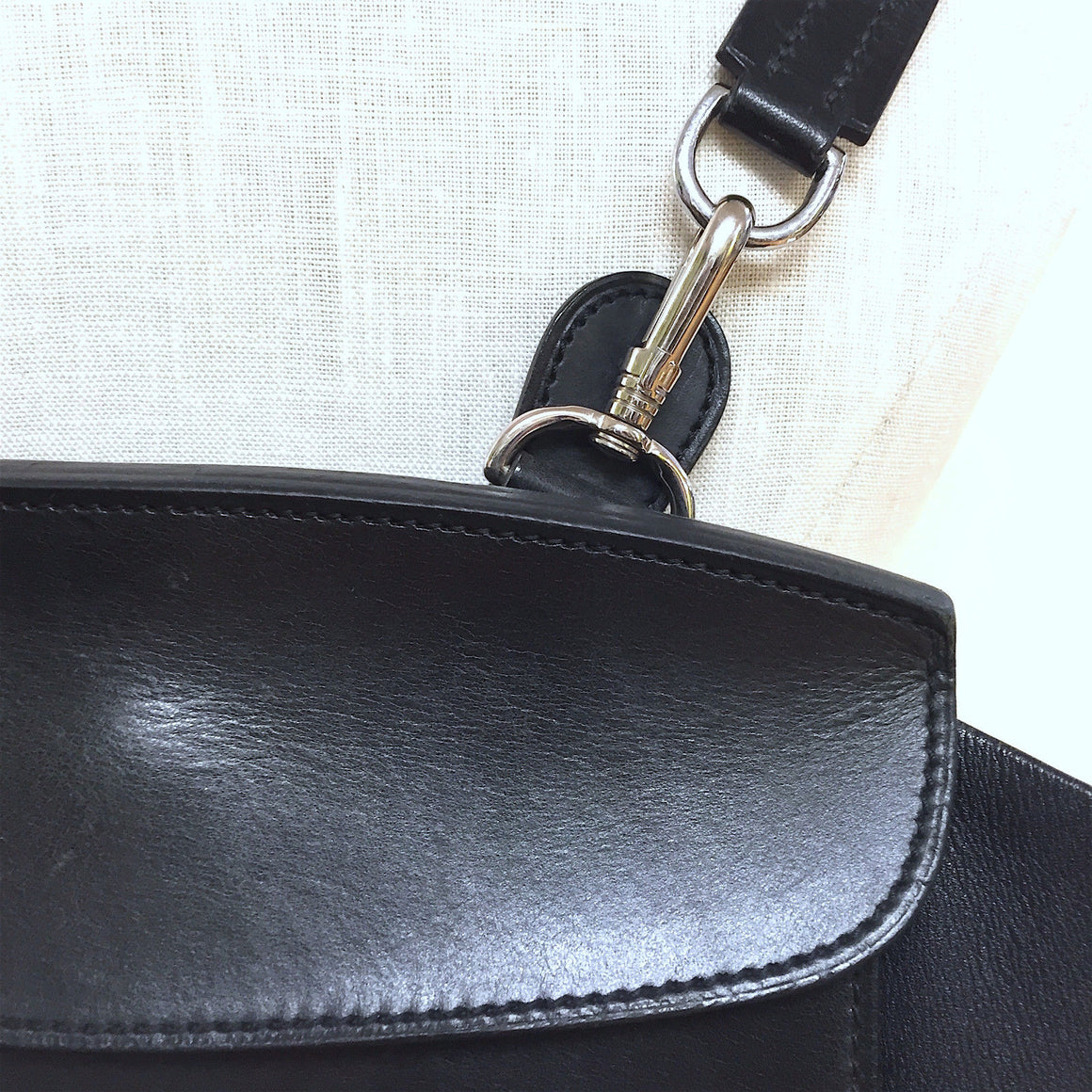 bisbiz.com HERMES Vintage Black Leather Palladium Sellier H/W Back-Pack/Shoulder Bag - Bis Luxury Resale