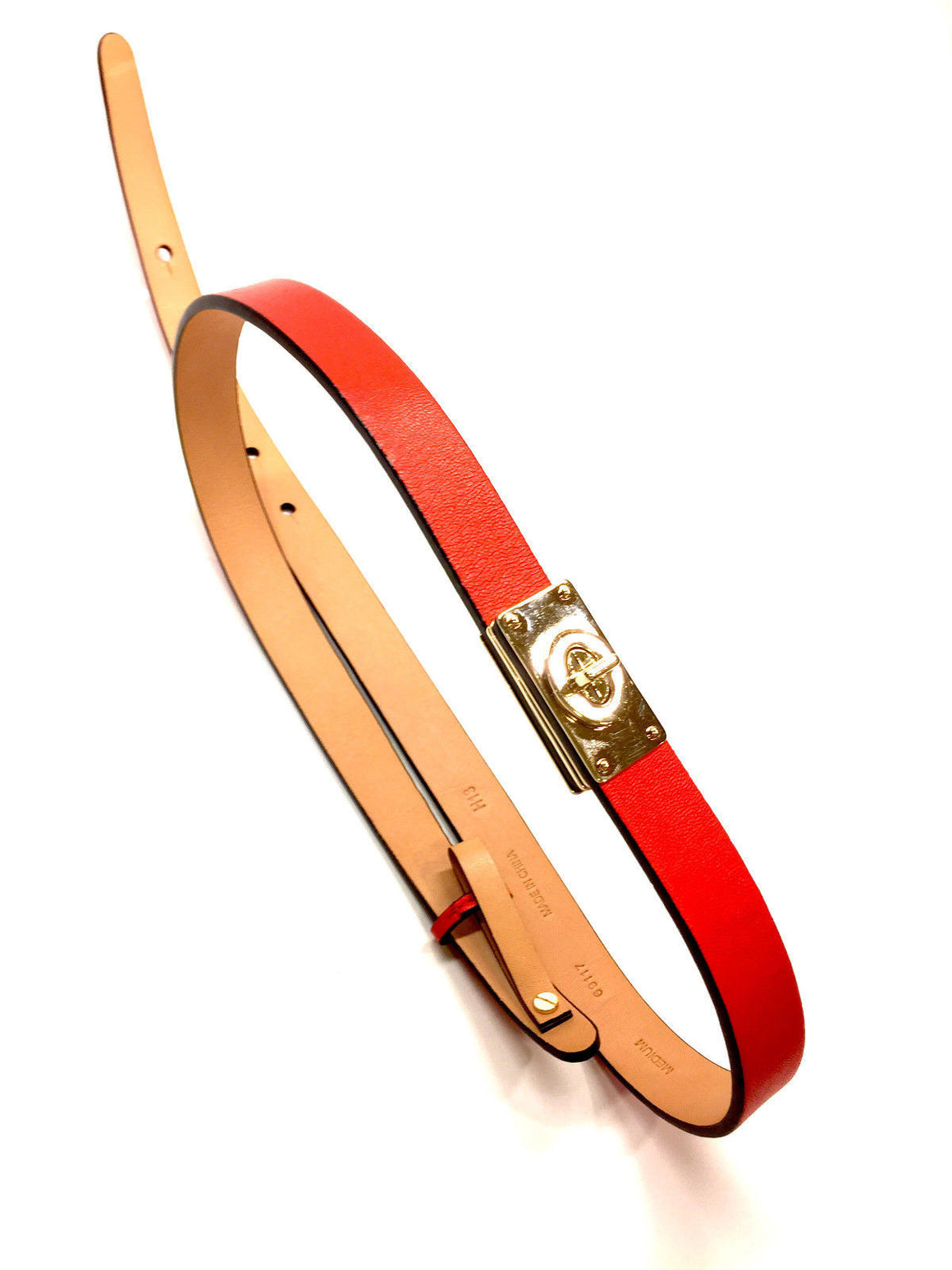 bisbiz.com COACH  Red Leather Gold Turnlock Accent Belt Size: Medium - Bis Luxury Resale