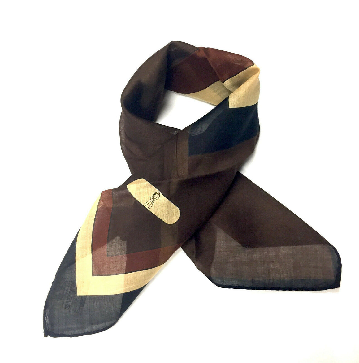 Vintage New ROBERTA DI CAMERINO Brown/Black Geometric-Print Cotton Scarf