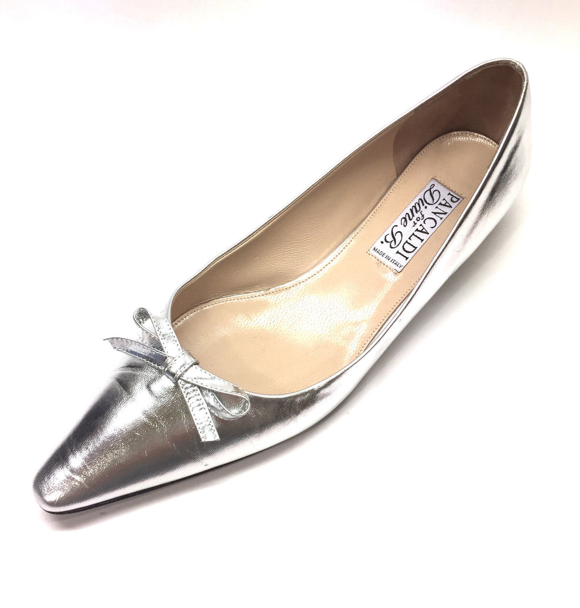 PANCALDI for DIANE B. Silver Leather Pointed-Toe Ballet Flats Size: 40 / 10