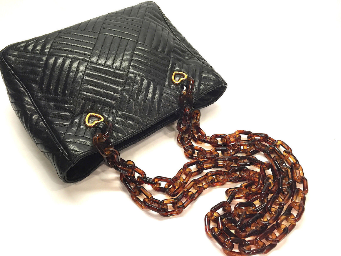 bisbiz.com SEPCOEUR    Paris Black Diamond-Quilted Lambskin Moc-Tortoise Strap Shoulder Hand Bag - Bis Luxury Resale