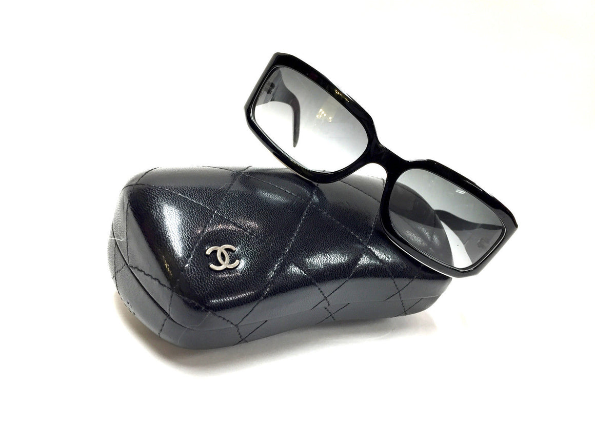 bisbiz.com CHANEL Black/White Frame Gray Tint Lenses Crystal-Pave Logo Sunglasses Style #5064-B - Bis Luxury Resale