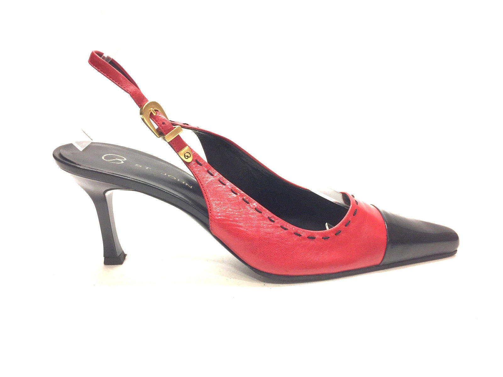 08a1a9db2 JOHN Red Black Leather Stitching Accent Acrylic Heels Slingbacks Shoes  Size  8B