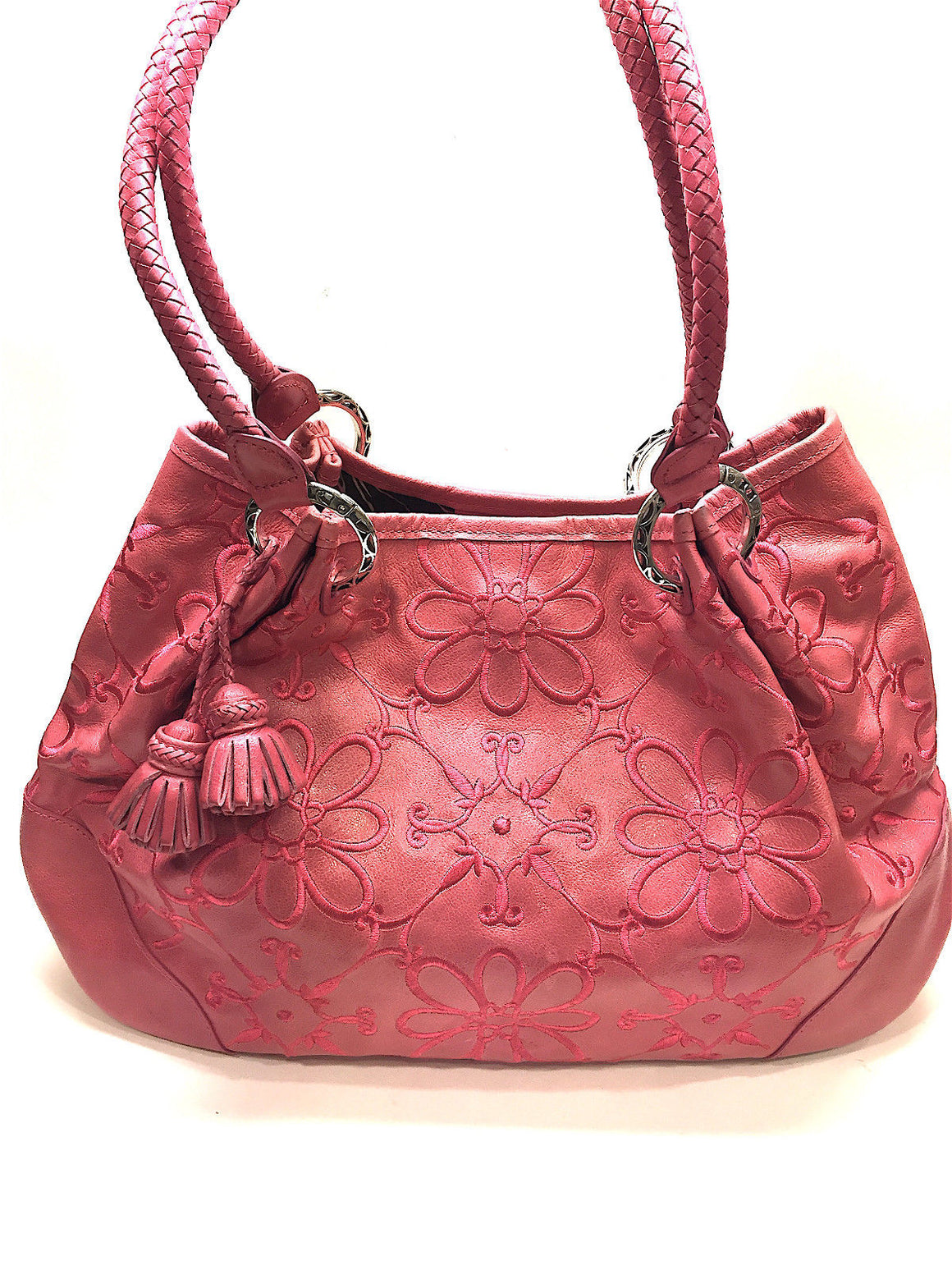 bisbiz.com BRIGHTON  Pink Floral-Embroidered Leather  Tassel & Heart Accent Shoulder/Hand Bag - Bis Luxury Resale