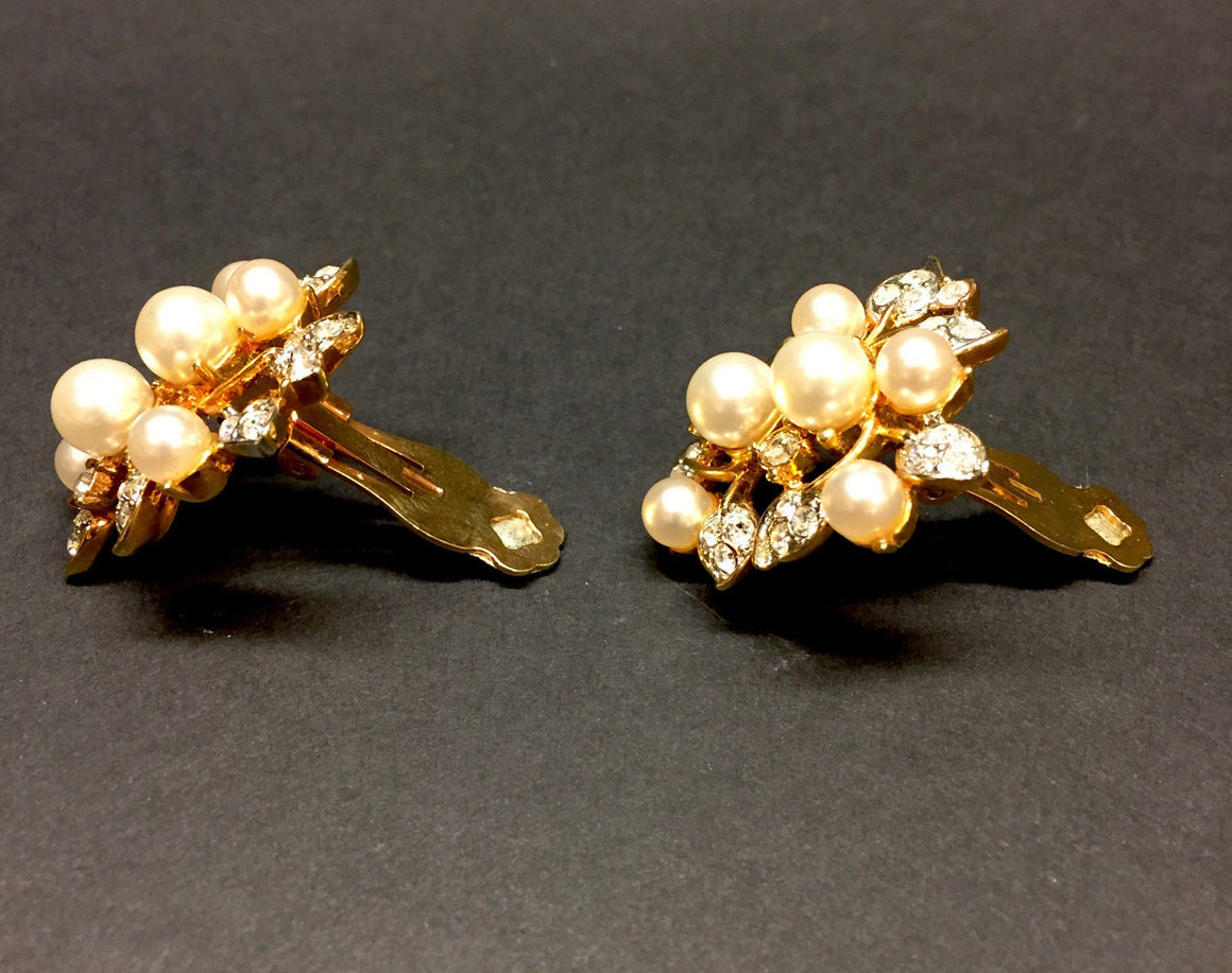 KENNETH LANE Vintage Gilt Metal Crystal & Faux Pearl Cluster Clip-on Earrings