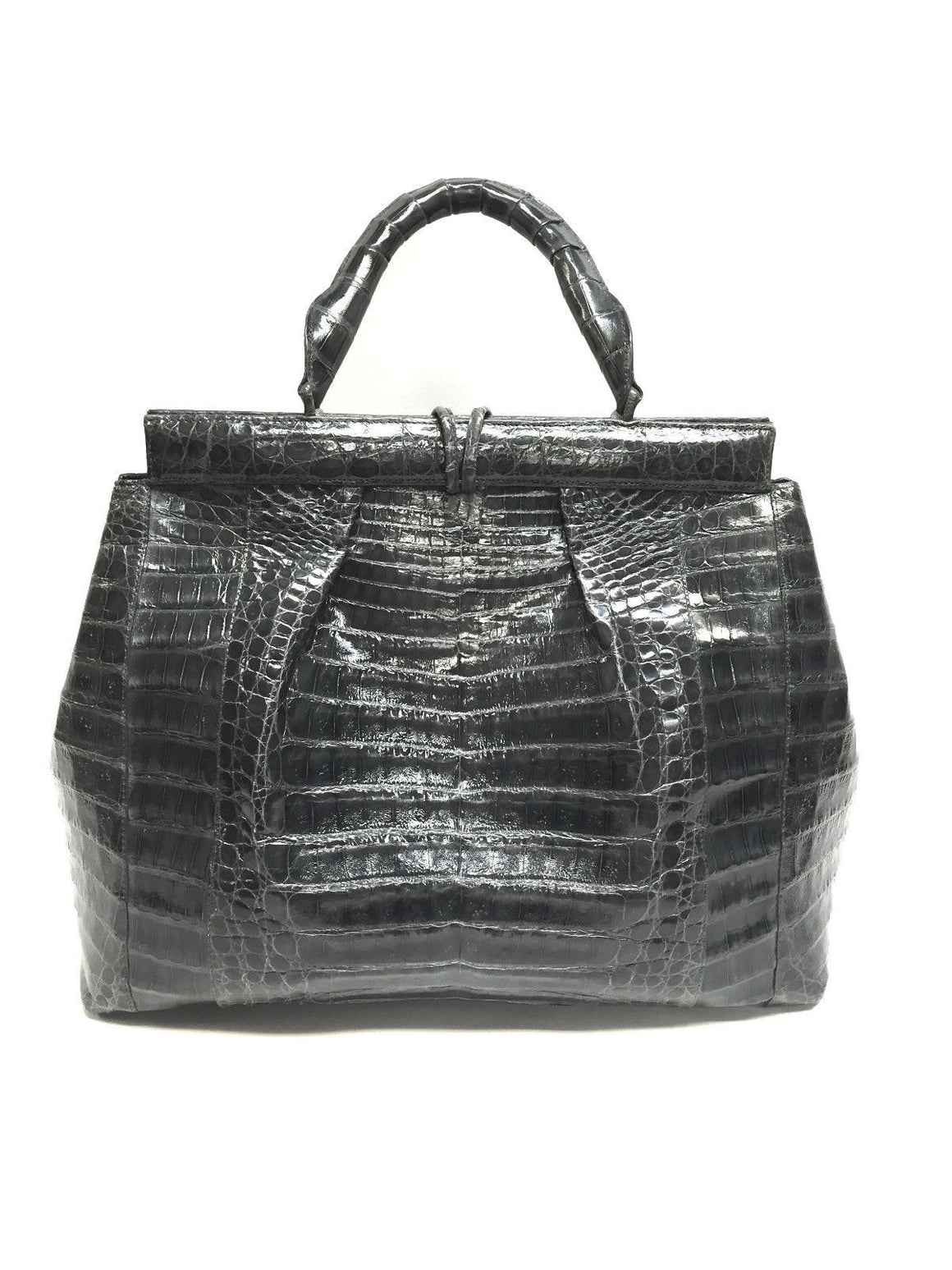 bisbiz.com NANCY GONZALEZ  Magnificent Graphite-Gray Croc Skin Satchel Handbag - Bis Luxury Resale
