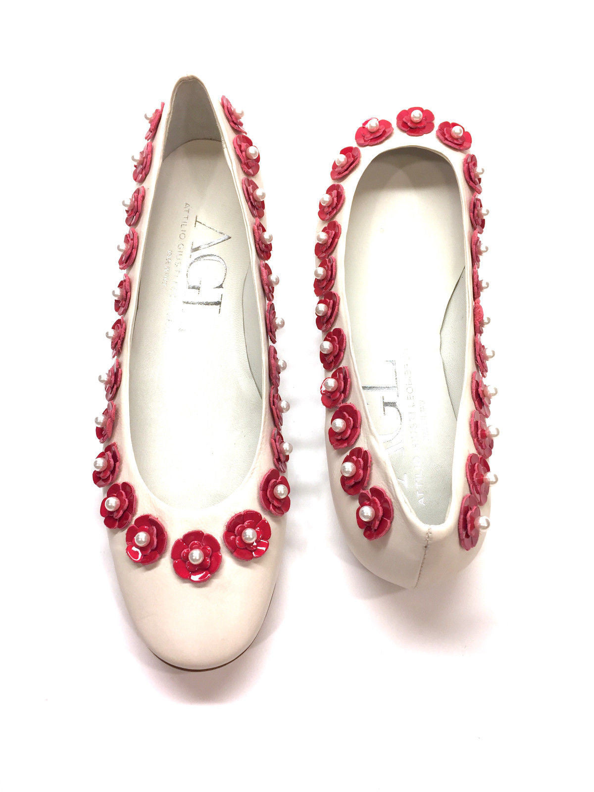 Attilio giusti leombruni white leather pink flower pearl trim bisbiz attilio giusti leombruni white leather pink flower pearl trim ballet flats shoes mightylinksfo