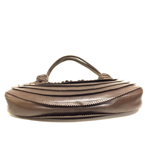 093179531ef CHRISTIAN LOUBOUTIN Brown Leather Tiered Hobo Shoulder Bag