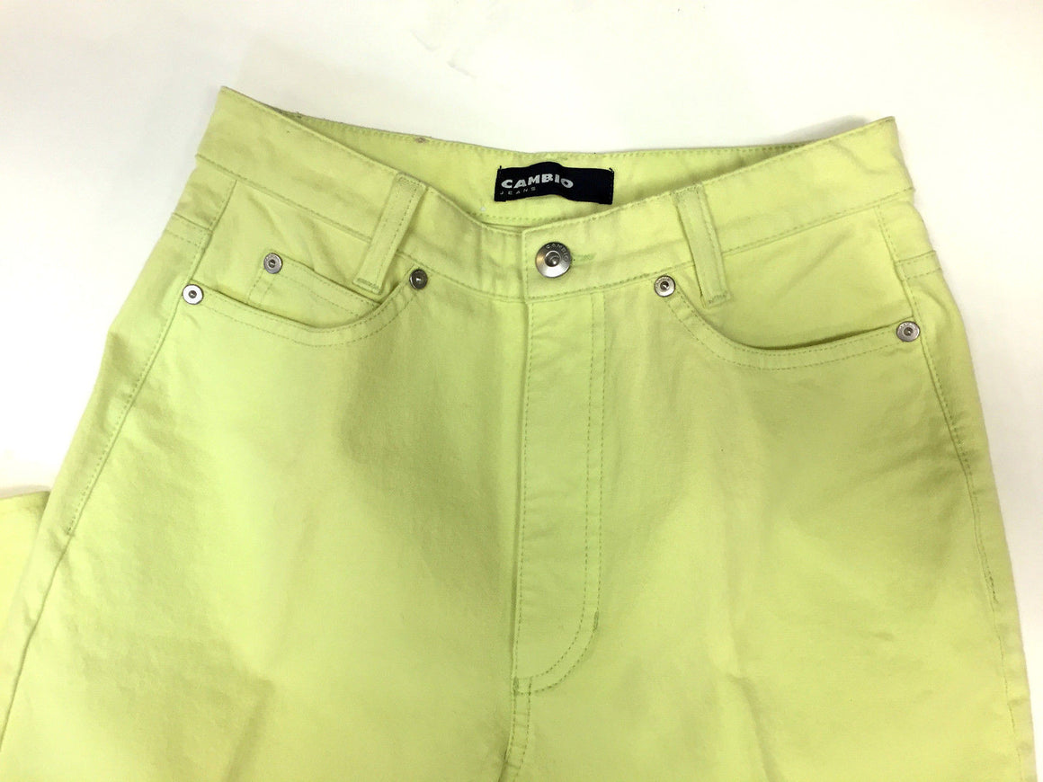 bisbiz.com CAMBIO Lime-Green Cotton/Lycra Classic-Rise Straight-Leg SHARON Jeans Size: 6 - Bis Luxury Resale