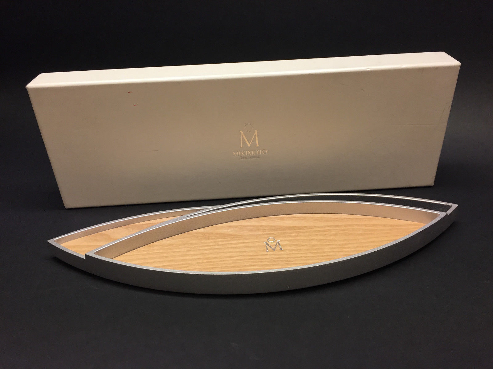 MIKIMOTO Natural Blonde Wook Silver Tone Metal Frame Jewelry Tray ...