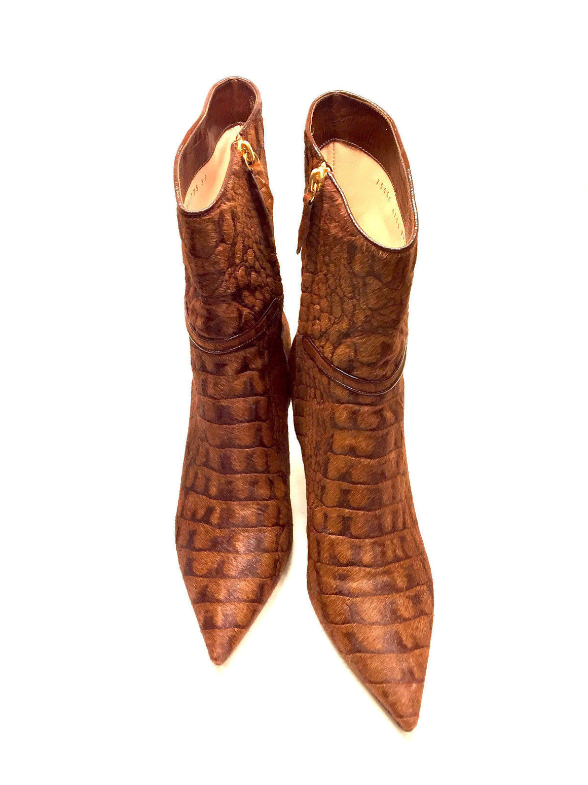 bisbiz.com CASADEI Cognac Reptile-Patterned Calf Hair Slim Heel Low Boots Size: 8B - Bis Luxury Resale