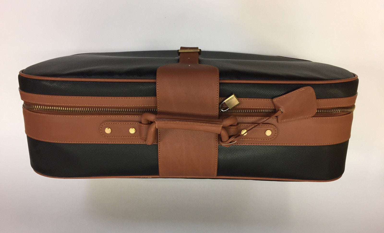 715e20f2a4 ... bisbiz.com BOTTEGA VENETA Black MARCO POLO Textured PVC Saddle Leather  Suitcase - Bis ...