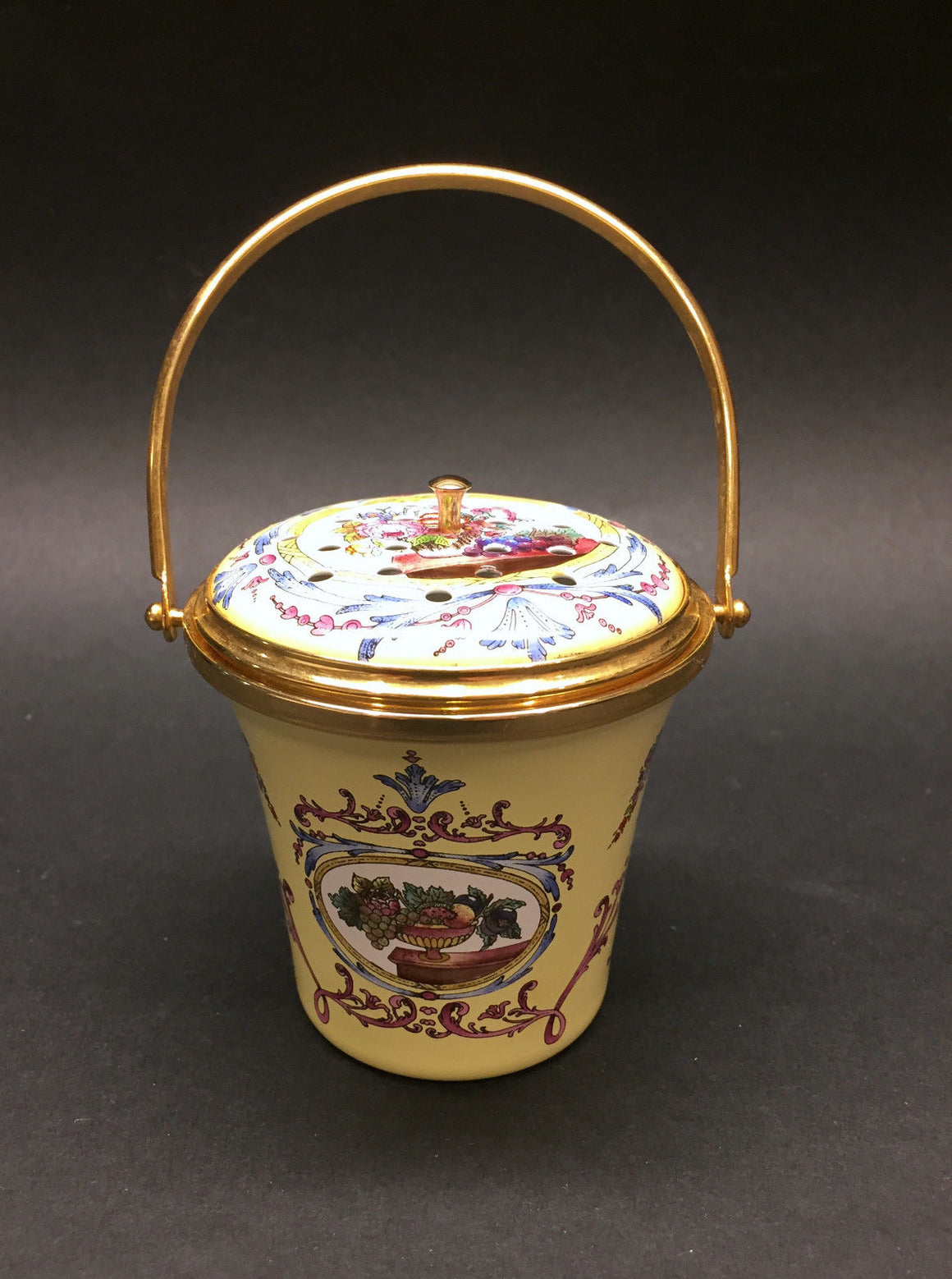 bisbiz.com HALCYON DAYS ENAMELS  VINTAGE Yellow/Multi-Color Enameled Perfume Diffuser Bucket - Bis Luxury Resale